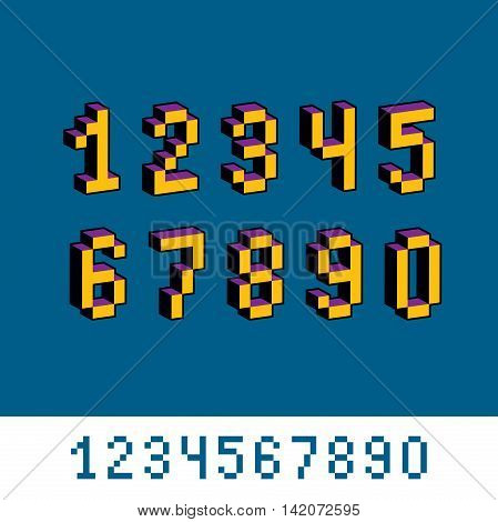 Vector Digits, Numerals Created In 8 Bit Style. Pixel Art Numbers Set, 3D Mathematics Design Element