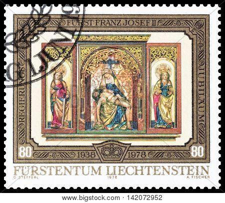 LIECHTENSTEIN - CIRCA 1978 : Cancelled postage stamp printed by Liechtenstein, that shows Religious motive.