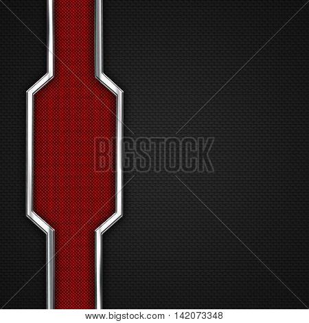 red black carbon fiber and chromium frame. metal background. material design. 3d illustration.