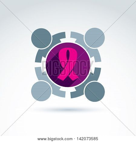 Breast cancer ribbon placed on a purple circle. Association for breast cancer diagnosis