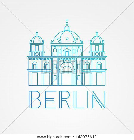 Vector one line minimalist icon of German. Berlin Cathedral, Germany. Front view.