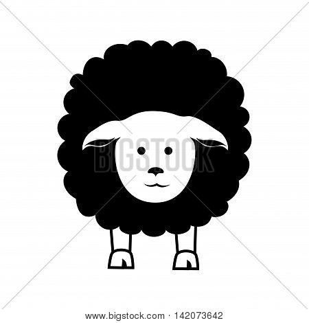 sheep cute face front farm silhouette animal vector graphic isolated and flat illustration