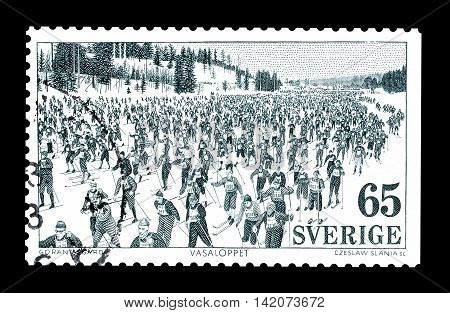 SWEDEN - CIRCA 1973 : Cancelled postage stamp printed by Sweden, that shows Ski race.