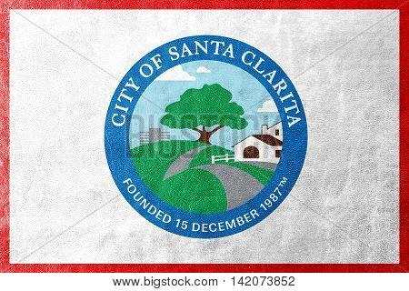 Flag Of Santa Clarita, California, Usa, Painted On Leather Texture