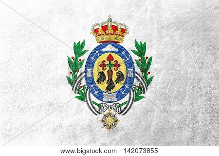 Flag Of Santa Cruz De Tenerife, Spain, Painted On Leather Texture