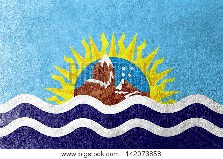 Flag Of Santa Cruz Province, Argentina, Painted On Leather Texture