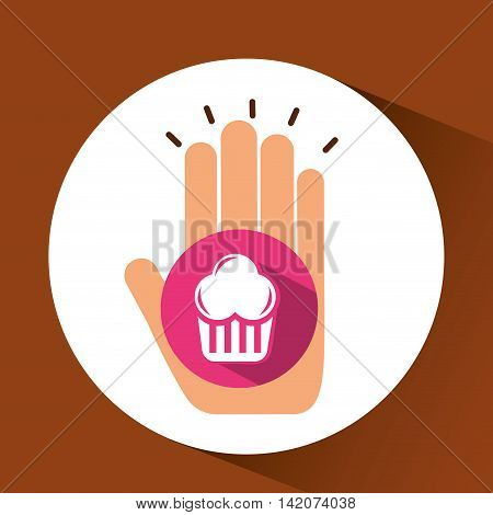 holding muffins, fresh bakery products, vector illustration