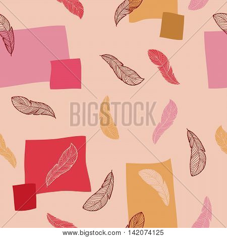 Feather doodle graphic art seamless pattern red pink yellow color illustration vector
