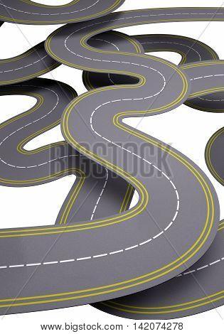 many roads traffic concept , 3d illustration