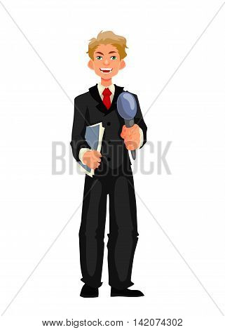 Beautiful male journalist, reporter, cartoon style vector illustration isolated on white background. Full height reporter, journalist taking interview