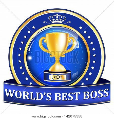World's best boss blue ribbon / icon with golden number one cup