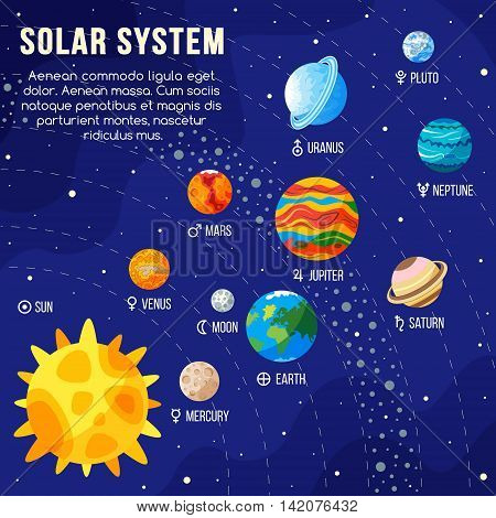 Solar system with sun and planets on orbit. Vector illustration