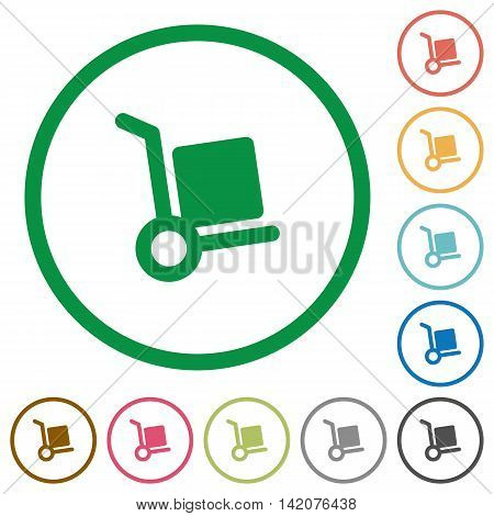 Set of parcel delivery color round outlined flat icons on white background