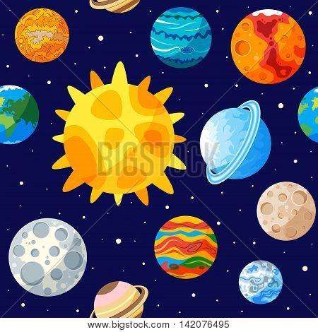 Solar system of seamless pattern. Vector illustration