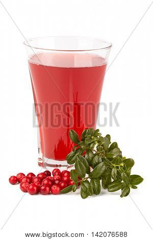Fresh cowberry and berry juice glass on a white background