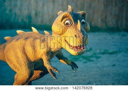 NOVI SAD SERBIA - AUGUST 7 2016: Small dinosaur toy from themed entertainment Dino Park in Novi Sad.