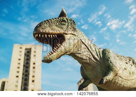 NOVI SAD SERBIA - AUGUST 7 2016: Carnotaurus life size model of prehistoric animal in theme entertainment Dino Park. This was bipedal predator measuring 8 to 9 m.