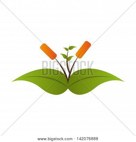 plant growing leaves green leaf ecology leaves silhouette vector graphic isolated and flat illustration