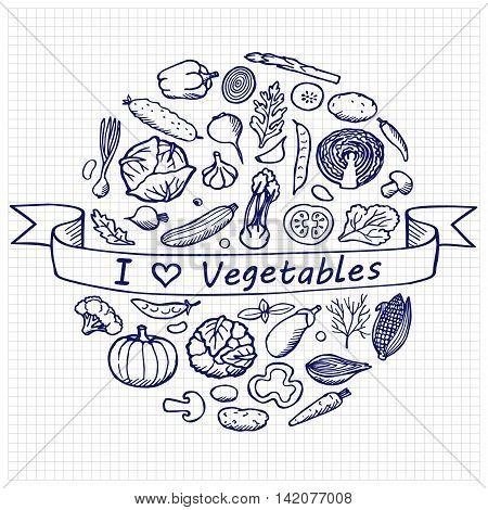 Vegetables hand drawn elements. I love vegetables. Vintage vector illustration of doodle vegetables on squared paper