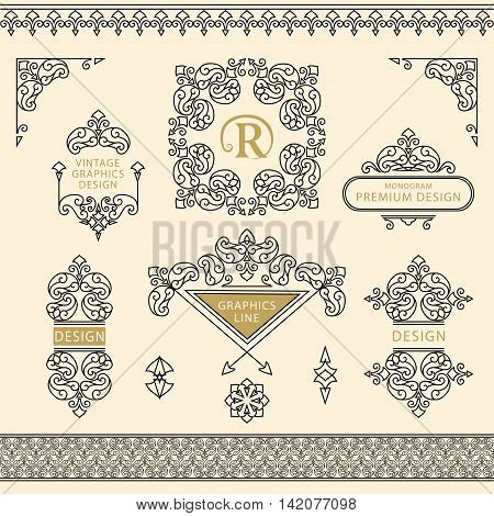 Vector illustration of Set of line art frames and borders for design template. Element in Eastern style. letter R. Outline floral frames. Mono line decor for invitations greeting cards certificate. Vector illustration