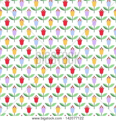 Seamless background with decorative bluebells in red yellow blue and lilac colors on white backdrop