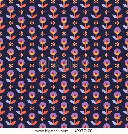 Seamless pattern with decorative flowers in lilac blue yellow and red colors on dark blue background