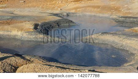 Big hole with hot mud - Namafjall in Myvatn area Iceland.
