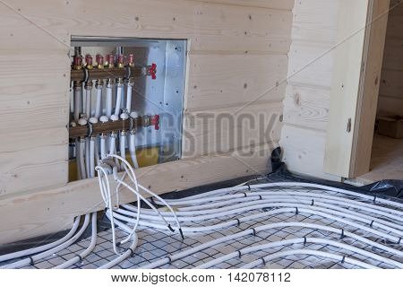 View on new floor heating system - Construction site