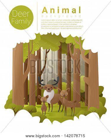 Forest landscape background with deers , vector , illustration