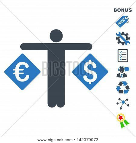 Currency Trader icon with bonus pictograms. Glyph illustration style is flat iconic bicolor symbols, smooth blue colors, white background, rounded angles.