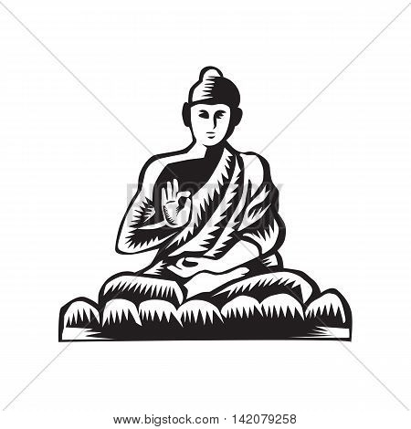 Illustration of a Gautama Buddha Siddhārtha Gautama Shakyamuni Buddha in lotus position viewed from front set on isolated white background done in retro woodcut style.