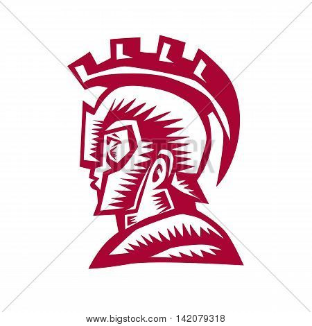Illustration of a spartan warrior helmet and shield viewed the side set on isolated white background done in retro woodcut style.