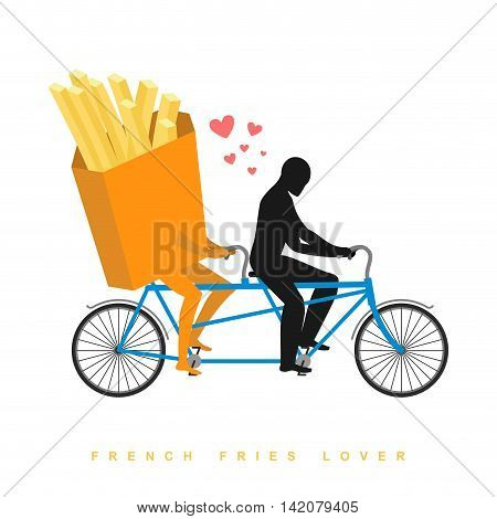 Lover French Fries. Food On  Bicycle. Lovers Of Cycling. Man Rolls Fastfood On Tandem. Joint Walk Wi