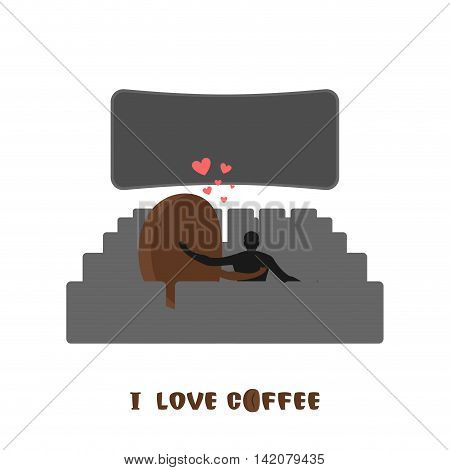 Coffee Lovers. Coffee Beansc Places For Kisses On Last Row. Lovers Watching A Movie. Romantic Illust
