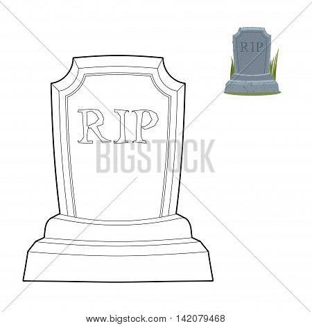 Tomb Coloring Book. Old Gravestone In Linear Style. Cracked Tombstone And Green Grass