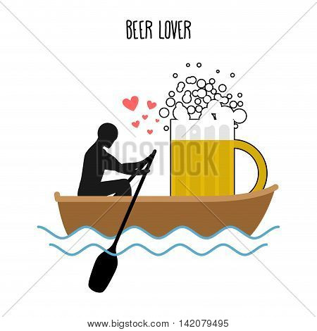 Beer Lover. Man And Beer Mugs And Ride In Boat. Lovers Of Sailing. Man Rolls Meal On Gondola. Rendez