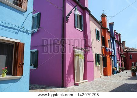 Colorful houses  in the famous island Burano, Venice, Italy