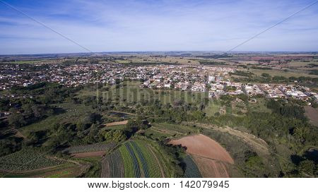 Aerial View Of The City Of Alvares Machado In Sao Paulo State In Brazil. July, 2016.