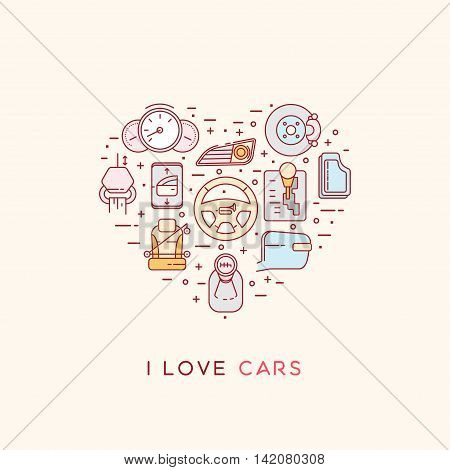 Set of vector icons of automotive topic. Icons arranged in the shape of heart. Automobile items. Thin line art design. I love cars