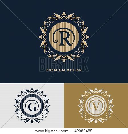 Vector illustration of Luxury Logo template flourishes calligraphic elegant ornament lines. Letter R G V. Business sign identity for Restaurant Royalty Boutique Hotel Heraldic Jewelry Fashion