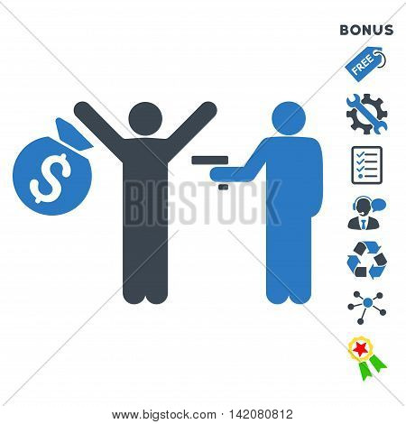 Thief Arrest icon with bonus pictograms. Glyph illustration style is flat iconic bicolor symbols, smooth blue colors, white background, rounded angles.