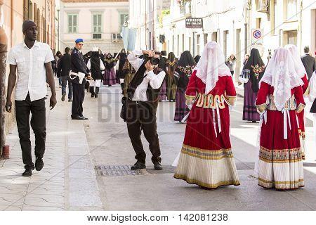 CAGLIARI, ITALY - May 1, 2015: 359 ^ Religious Procession of Sant'Efisio - Sardinia - folk groups parade in Viale Fra Ignazio of Cagliari