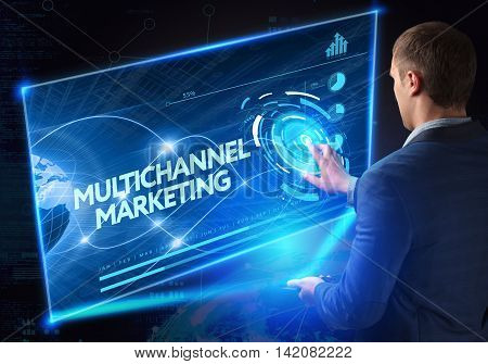 Business, Technology, Internet And Network Concept. Technology Future. Young Businessman, Working On