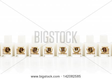 Electrical connector for electric cables and wires isolated on white background