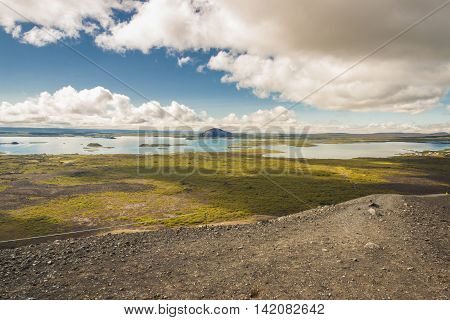 View on Myvatn lake - North part of Iceland. Sunny summer day. View from top of Hverfjall volcano.