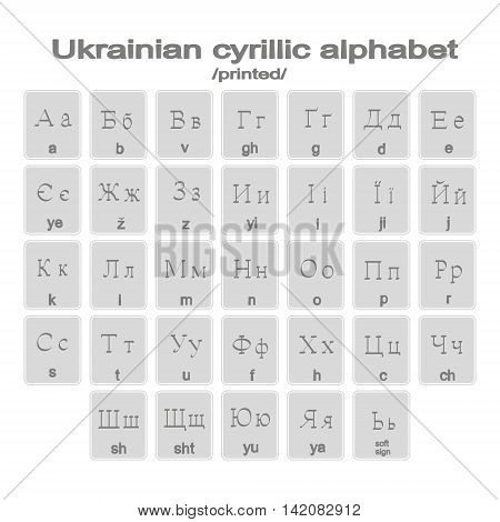 Set of monochrome icons with printed ukranian  cyrillic alphabet for your design