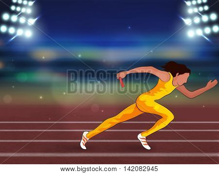 Illustration of female relay runner on running track in spotlight for Sports concept.