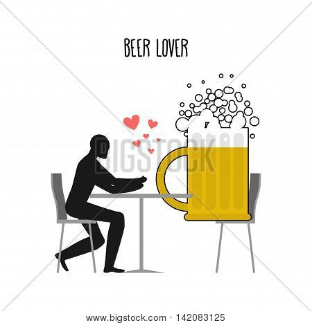 Beer Lover. Lovers In Cafe. Man And Coffee Beans Sitting At Table. Drink At Restaurant. Romantic Dat