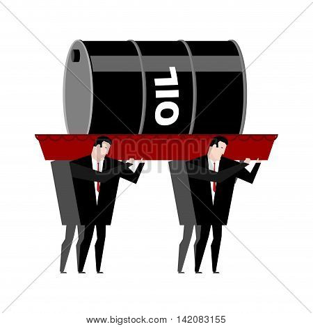 Funeral Oil. Barrel Of Oil Carried In Coffin. Businessmen Buried Petroleum. Red Wooden Casket. Proce