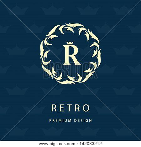 Vector illustration of Luxury Vintage logo. Business sign label Letter emblem R for badge crest Restaurant Royalty Boutique brand Hotel Heraldic Jewelery Fashion Real estate Resort tattoo Auctions